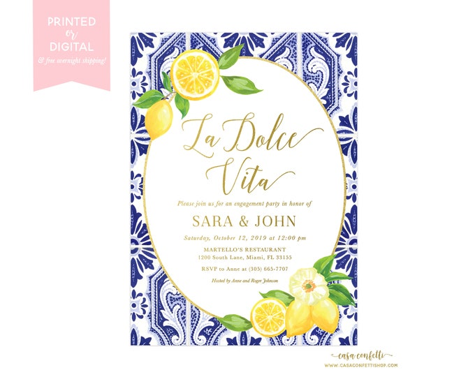 Lemon Engagement Party Invitation, La Dolce Vita Blue Tile Italian Engagement Party Invitation, Tuscan Positano Engagement Party Invite