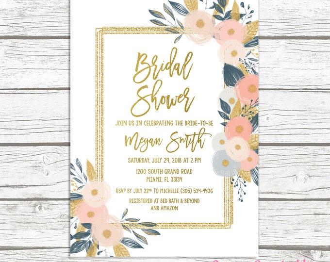 Floral Bridal Shower Invitation,  Bridal Shower Brunch Invitation, Peach and Navy Bridal Shower Invitation, Bridal Shower Printable Invite