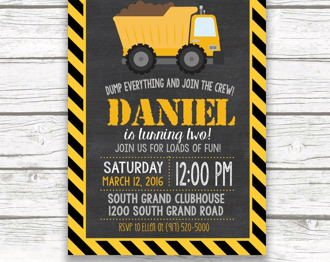 Construction Birthday Invitation, Construction Invitation, Dump Truck Invitation, Birthday Invite Boy, Construction Theme Printable