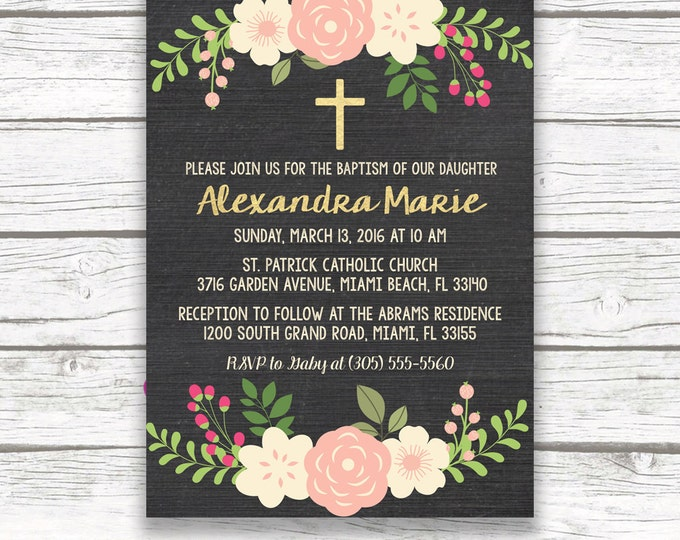 Chalkboard Gold Foil Baptism Christening Invitation, Girl First Communion Peach Ivory Floral Cross Invite, Printed Printable Invitation