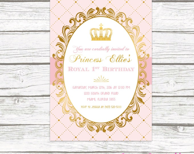 Princess Birthday Invitation, Princess Invitation, Pink and Gold Invitation, Princess Crown Invitation, Royal Birthday, Printable Invite