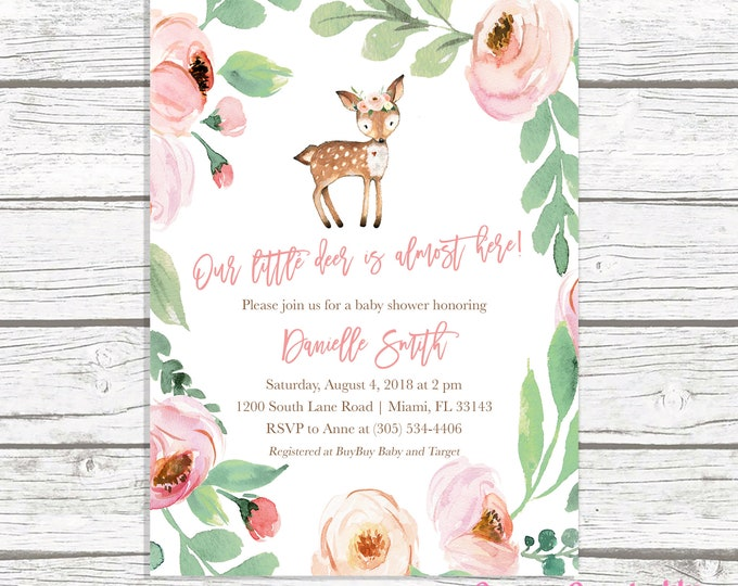 Deer Baby Shower Invitation, Woodland Baby Shower Invitation Girl, Oh Deer Baby Shower Invite, Pink Baby Shower Invitation, Printable