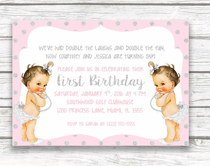 Pink and Silver Glitter Twin Girl Birthday Party Invitation, First 1st Birthday Invitation, Vintage Babies, Printed or Printable
