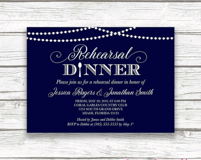Rehearsal Dinner Invitation, Rustic Lights Rehearsal Dinner Invitation, String Lights Invitation, Blue Rehearsal Dinner Printable Invite