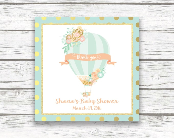 "Hot Air Balloon Square Favor Tags, Peach and Mint Gold Foil Birthday Party Baby Shower Printable 2"" Square Favor Tag Stickers, Floral Flower"