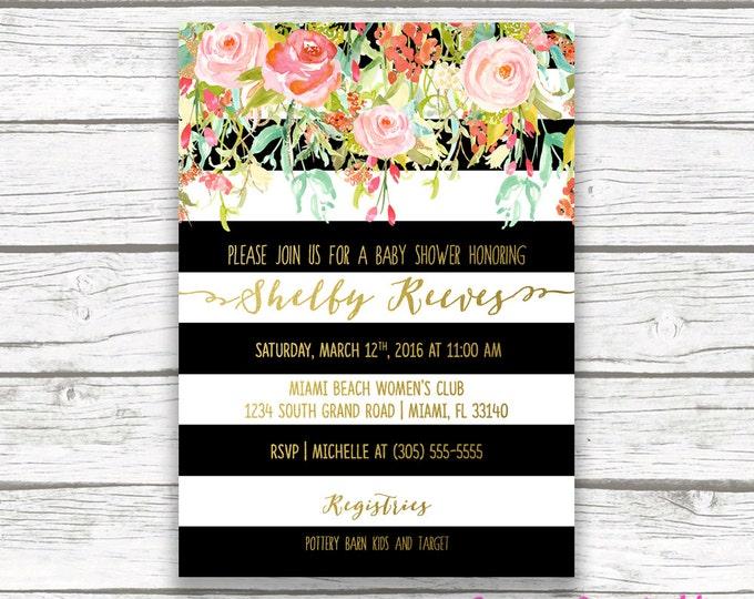Baby Shower Invitation Girl, Black and White Stripe Baby Shower Invitation, Floral Baby Shower Invite, Gold Foil Printable Invitation
