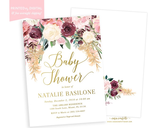 Boho Fall Baby Shower Invitation, Pink and Burgundy Baby Shower Invite, Pampas Grass Baby Shower, Greenery Fall Baby Shower, Printable