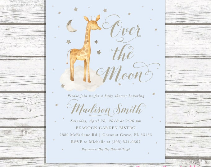 Giraffe Baby Shower Invitation, Over the Moon Baby Shower Invitation, Boy Baby Shower Invitation, Blue Giraffe Baby Shower Invite