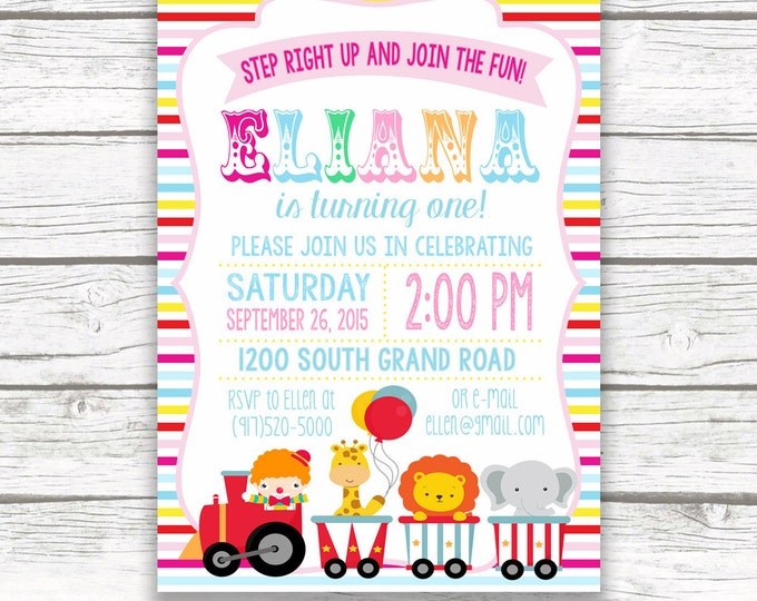 Pink Circus Birthday Party Invitation, Girl Birthday Invite, First 1st Birthday, Carnival Circus Animals, Printed or Printable Striped