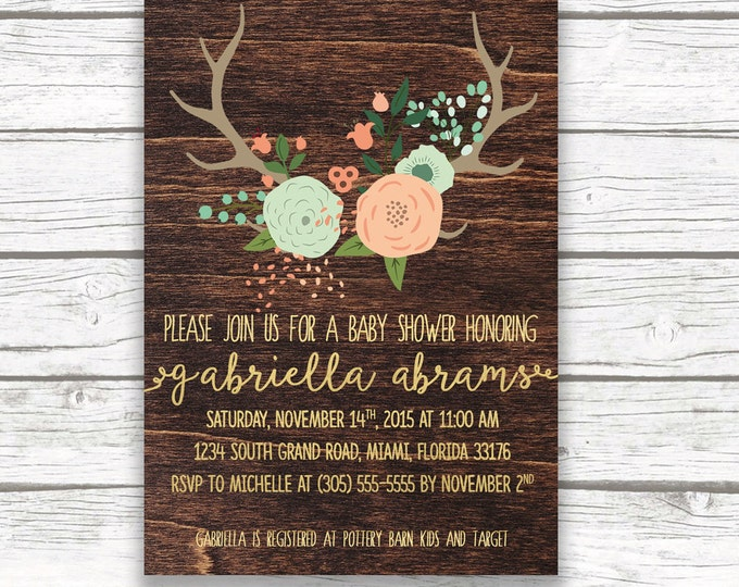 Wood Antler Rustic Floral Boho Baby Shower Invitation, Gold Foil, Mint and Peach Pink, Girl or Boy Neutral Printed or Printable Invitation