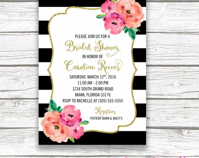 Bridal Shower Invitation, Floral Black & White Stripe Bridal Shower Invite, Pink and Gold Glitter Bridal Shower, Flower Bouquet, Printable