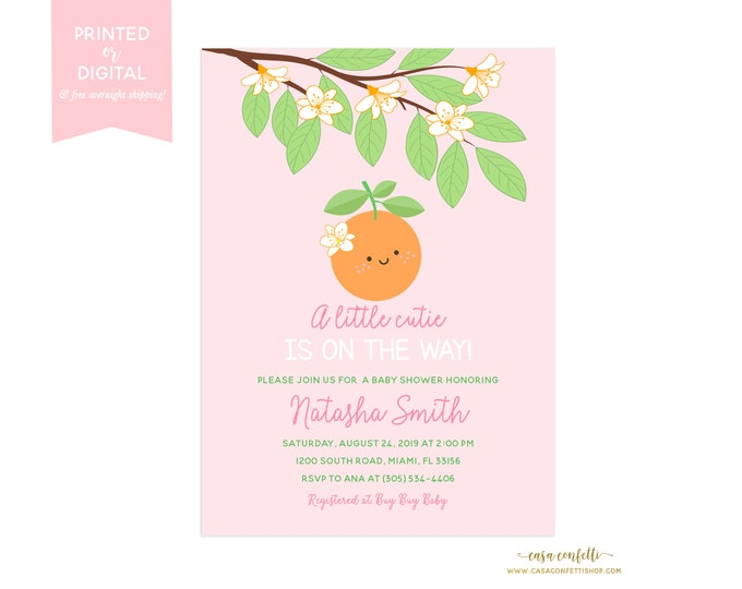 A Little Cutie Baby Shower Invitation Girl, A Little Cutie is on the Way, Orange Citrus Baby Shower, Fruit Baby Shower Theme, Citrus Invite