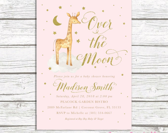 Giraffe Baby Shower Invitation, Over the Moon Baby Shower Invitation, Pink Giraffe Baby Shower Invitation, Girl Baby Shower Invite