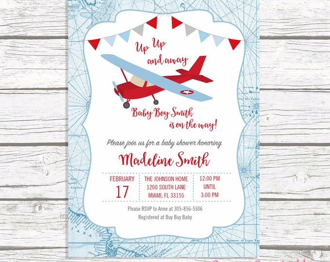Airplane Baby Shower Invitation, Boy Baby Shower Up Up and Away Invitation, Map Adventure Awaits Baby Shower Boy, Blue and Red