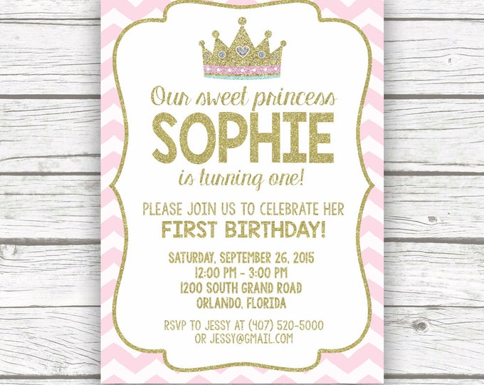 Princess Birthday Invitation, First 1st Birthday Invitation, Pink and Gold Birthday Invitation, First Birthday Girl, Princess Invitation