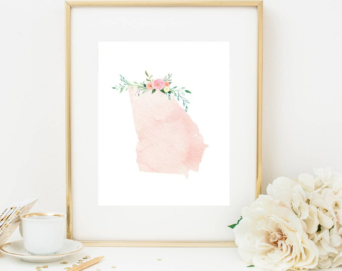 Georgia Print, Pink Watercolor Map, Georgia Silhouette, Georgia Art Print, Printable Home Nursery Decor, Georgia Wall Art, Dorm Decor