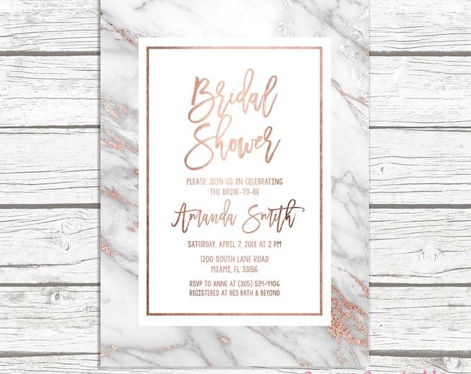 Rose Gold Marble Bridal Shower Invitation, Rose Gold Bridal Shower Invitation, Geode Bridal Shower Invite, Printable Wedding Invitation