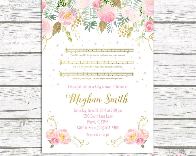 Musical Baby Shower Invitation, Twinkle Twinkle Little Star Baby Shower Invitation, Lullaby Invite, Pink and Gold Baby Shower Invitation