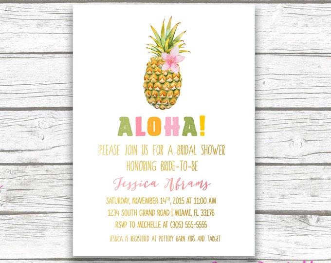 Tropical Bridal Shower Invitation, Pineapple Invitation, Pineapple Bridal Shower Invitation, Luau Bridal Shower Invitation, Printable Invite
