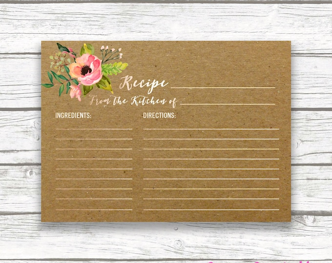Boho Kraft Bridal Shower Recipe Card Invitation Insert, Rose Gold Foil Coral Pink Floral Boho Wedding Recipe Cards, Wedding Instant Download