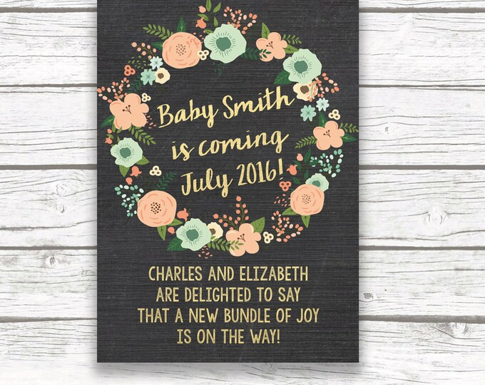 Chalkboard Gold Foil Baby Pregnancy Announcement, Mint Green Peach Floral Wreath, Gender Neutral, Printed or Printable, Matching Back