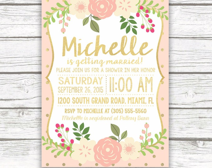 Peach and Gold Foil Baby Shower Invitation, Pink Peony Floral Invite, Rustic Bridal Shower, Printed or Printable Invitation, Matching Back