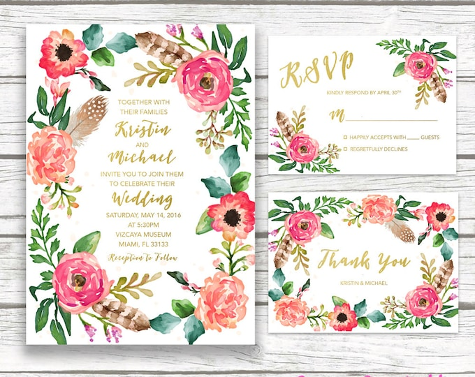 Boho Wedding Invitation, Gold Foil Wedding Invitation, Floral Wreath Feather Wedding Invite, Southwestern Printable Wedding Invitation