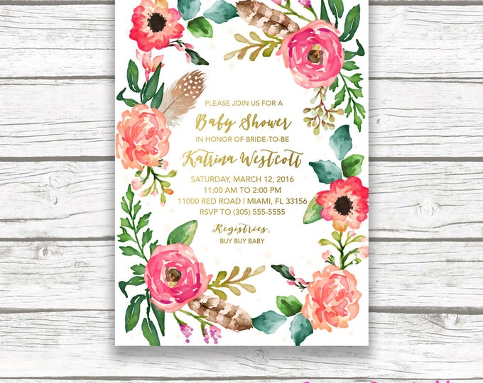 Boho Baby Shower Invitation, Southwestern Baby Shower Invitation, Feather Baby Shower, Floral Wreath Baby Shower Invitation, Shower Invite