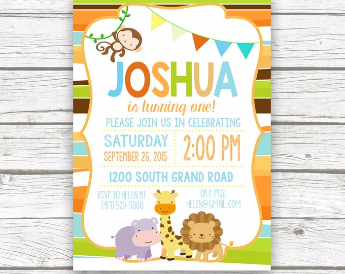 Safari Birthday Invitation, Jungle Birthday Invitation, Safari Invitation, First Birthday Invite, Animal Birthday, Wild One Invitation