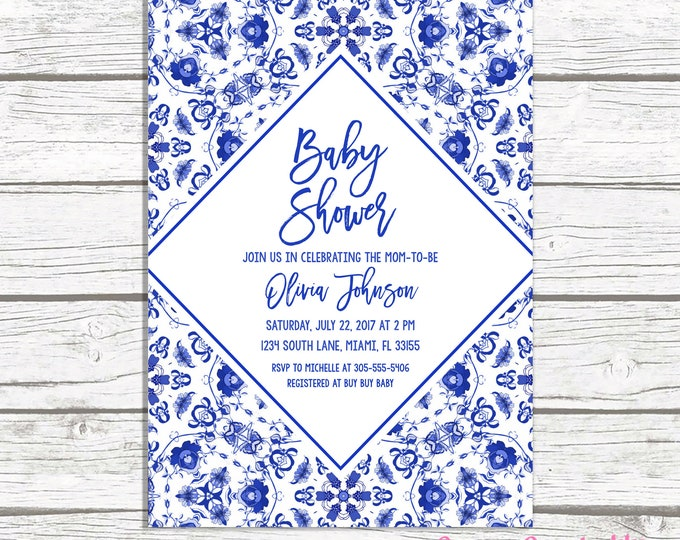 Blue Baby Shower Invitation,  Baby Shower Brunch Invitation, Blue and White Baby Shower Invitation, Chinoiserie Baby Shower Invite