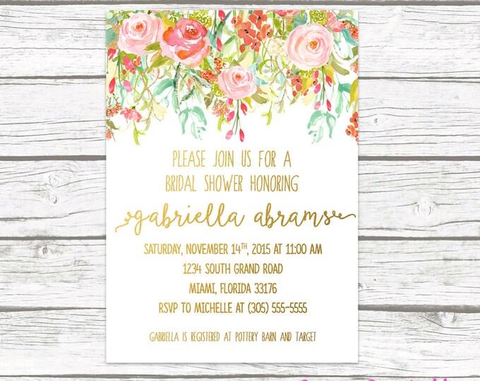 Garden Bridal Shower Invitation, Floral Bridal Shower Invitation, Pink and Gold Bridal Shower, Spring Wedding Shower, Printable Invitation