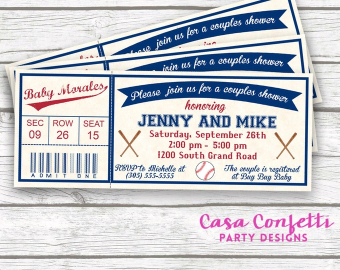 Vintage Baseball Ticket Baby Shower Invitation with Matching Back, Sports Couples Baby Shower Invite, Baby Boy Baseball Shower, Printable