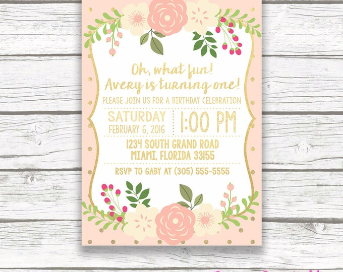 Peach Gold Foil Floral First Birthday Invitation, Girl One 1st Birthday Pink Peach Floral, Printed or Printable Invitation, Matching Back
