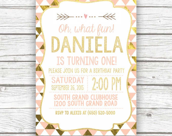 First Birthday Invitation Girl, Peach and Gold Birthday Invitation, 1st Birthday Invite Girl, Arrow Birthday Invitation, Pink and Gold