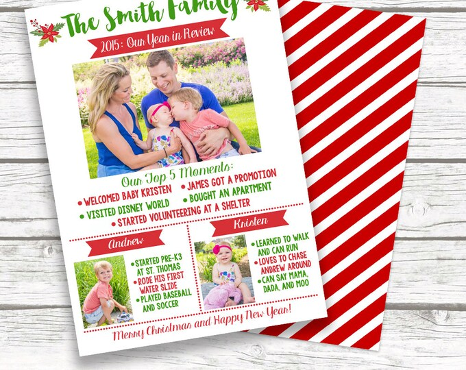 Year in Review Christmas Holiday Photo Card, Red White Striped Family Christmas Card, Personalized Printed or Printable, Matching Back