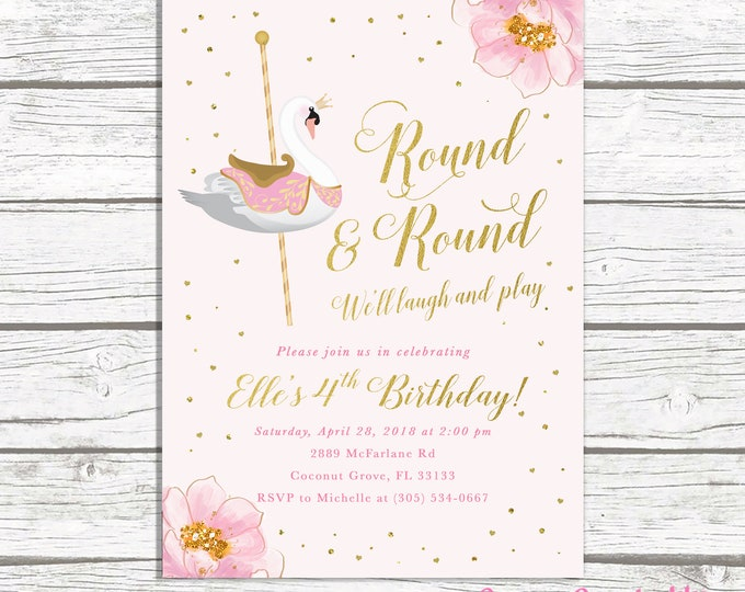 Swan Invitation, Swan Birthday Invitation, Carousel Invitation, Swan Princess Invite, Carousel Birthday Invite Girl, First 1st Birthday