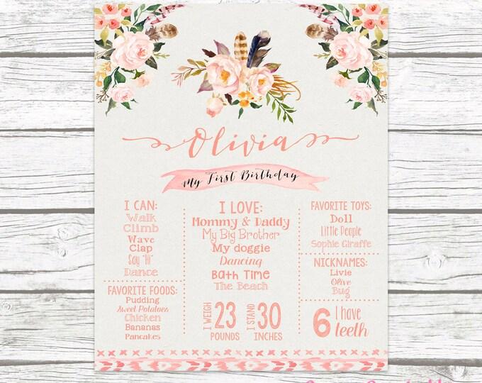 First Birthday Boho Peach Pink Chalkboard Sign, Wild One Floral Arrow Chalk Sign, Printable Custom Girl 1st Birthday Poster, Tribal