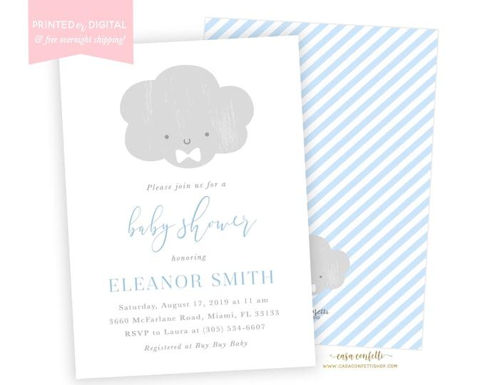 Cloud Baby Shower Invitation Boy, Bowtie Baby Shower Invitation, Baby Sprinkle Invitation, Gray and Blue Baby Shower