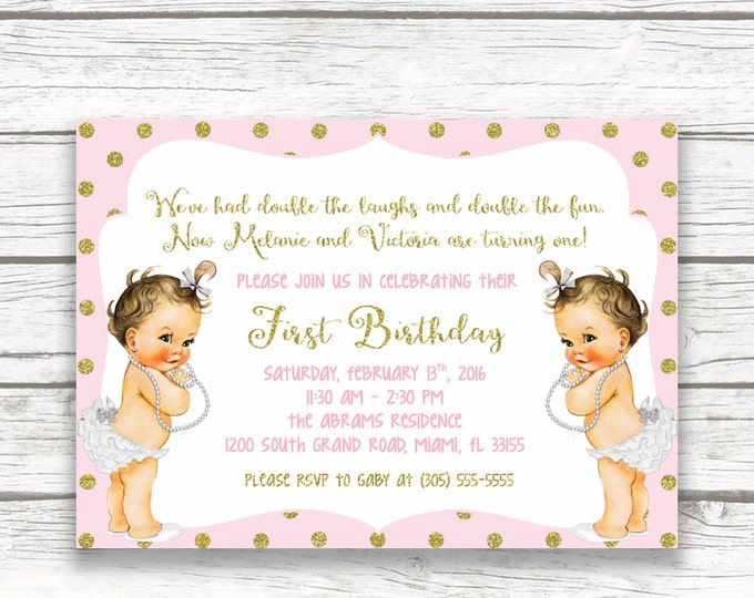 Twincess Birthday Invitation, Twin Princess Birthday Invitation, Twin Girl Birthday, Pink and Gold First Birthday Invitation, Printable