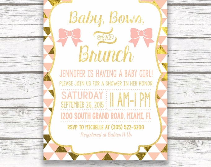 Baby Shower Brunch Invitation, Baby Bows and Brunch, Peach and Gold Foil Glam Invite, Girl Baby Shower Invitation, Printable Invitation