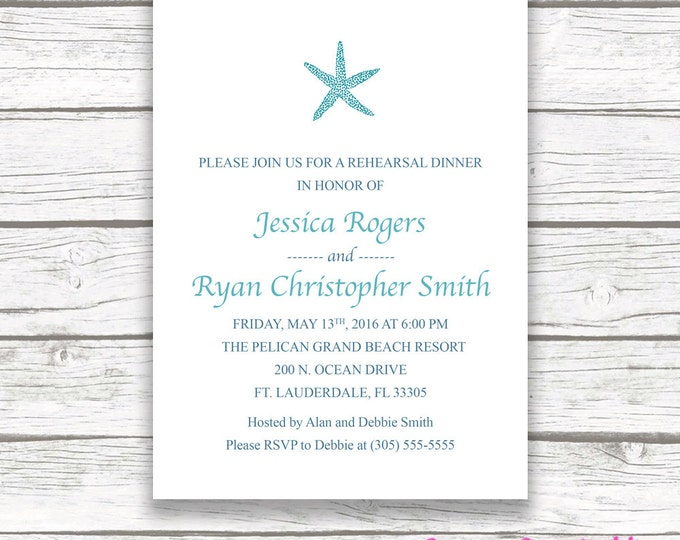 Beach Rehearsal Dinner Invitation, Starfish Rehearsal Dinner Invitation, Turquoise Rehearsal Dinner Invitation, Printable Rehearsal Invite