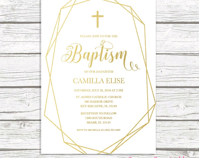 Geometric Frame Baptism Invitation, Crystal Baptism Invitation, White and Gold Baptism Invite, Minimalist Christening Invitation