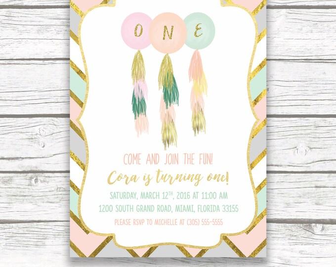First Birthday Invitation Girl, Balloon Birthday Invitation, Tassel Birthday Invitation, Pink and Gold Birthday Invite, Printable