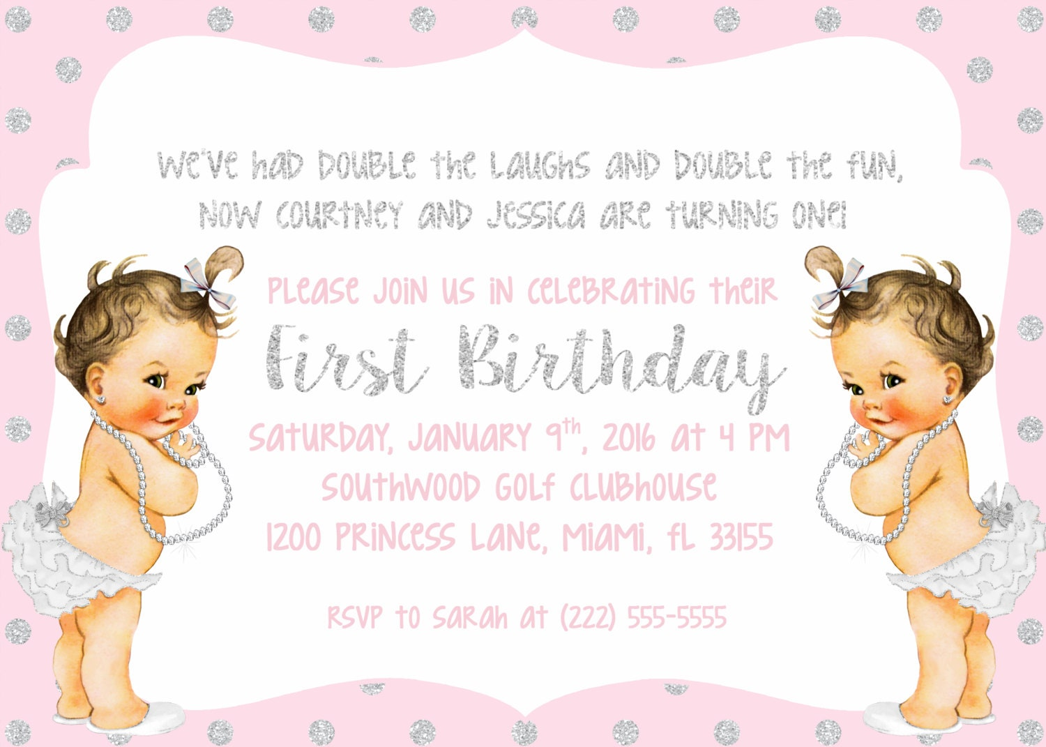 Pink and Silver Glitter Twin Girl Birthday Party Invitation, First ...