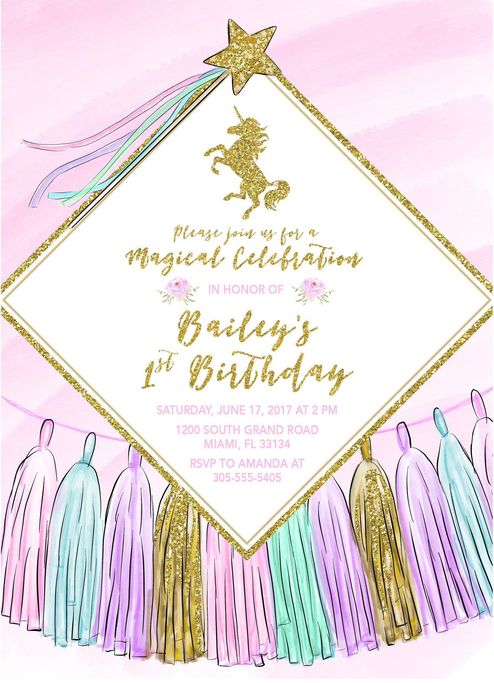 Unicorn Invitation Birthday Girl 1st First Party Pastel Tassel Gold Glitter Printable