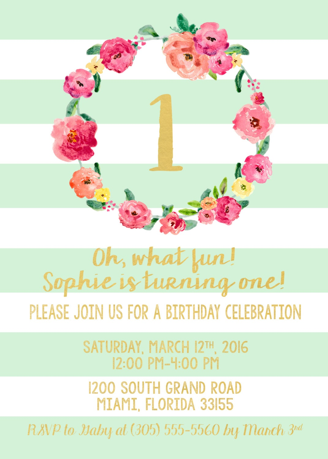 Mint Green Striped Gold Foil First Birthday Invitation Girl One 1st
