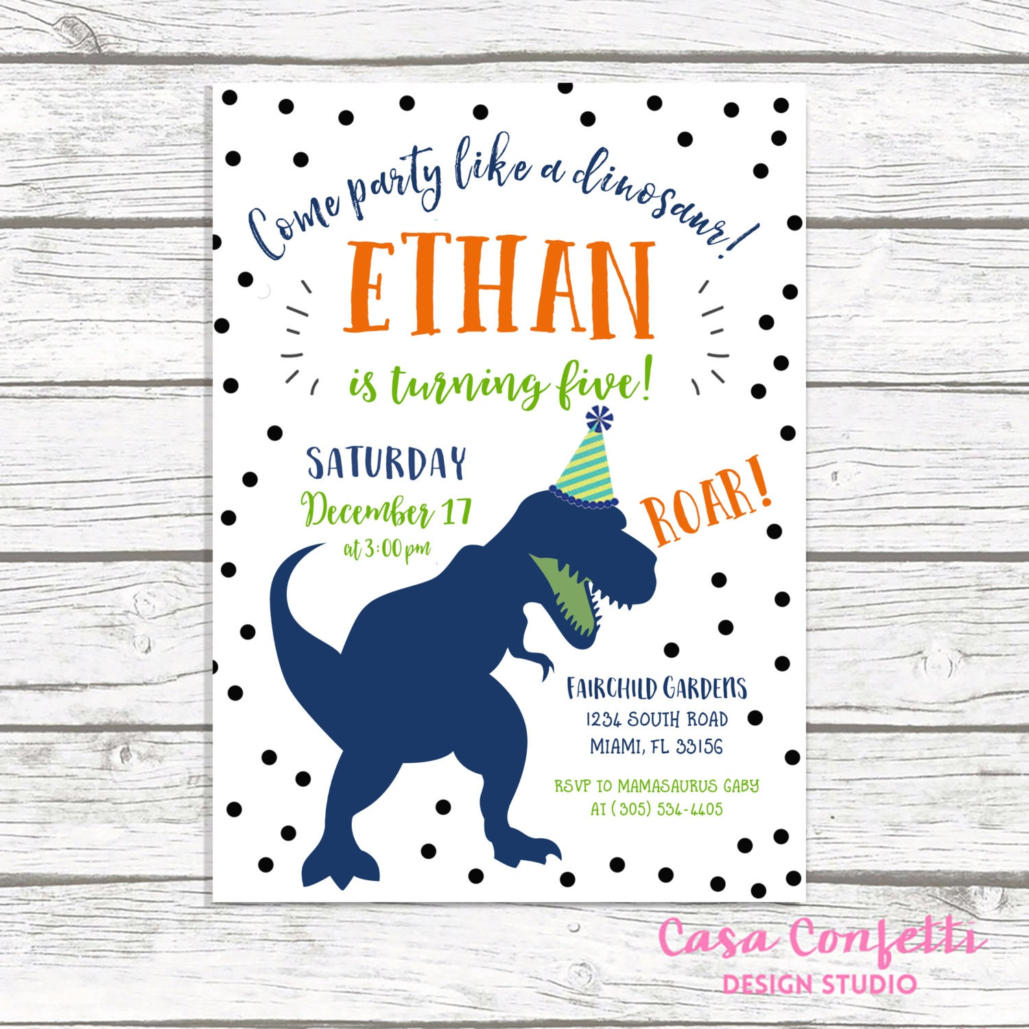 Dinosaur Birthday Invitation, Dinosaur Invitation, Dinosaur Birthday ...