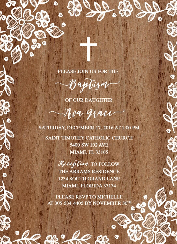 Wood White Lace Border Floral Baptism Christening Invitation Girl First Communion Boho Vintage Cross Invite Rustic Printable