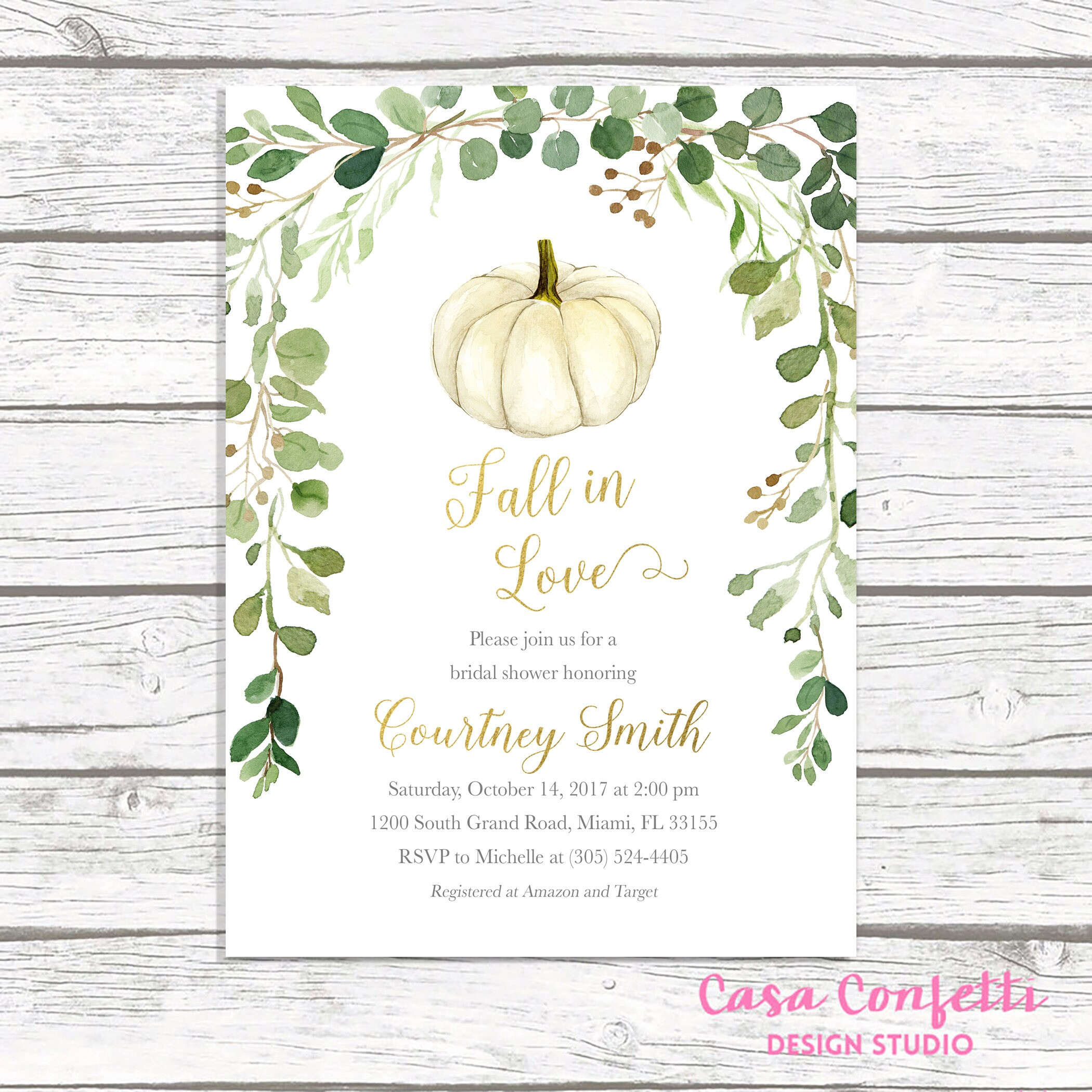 Fall in Love Bridal Shower Invitation, Pumpkin Bridal Shower ...