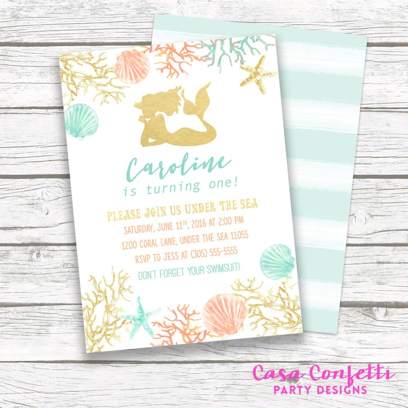 Mermaid Invitation Birthday